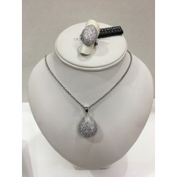 Necklace in 925 silver with swarovski zircon by drop with OTTAVIANI ring