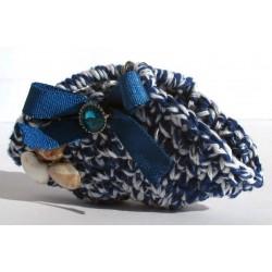 Portachiavi mini borsa coffa Siciliana, fatta a mano (uncinetto), cuore blu 9 x 5 cm