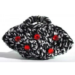 Portachiavi mini borsa coffa Siciliana, fatto a mano (uncinetto), Sicily 10x6 cm