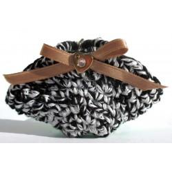 Portachiavi mini borsa coffa Sicilia, fatto a mano (uncinetto), redSicily 7,5x4,5 cm