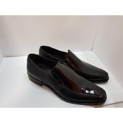 Ugo Turati scarpe uomo elegante cerimonia/sposo a mocassina nera in pelle e vernice 171704 fondo in cuoio