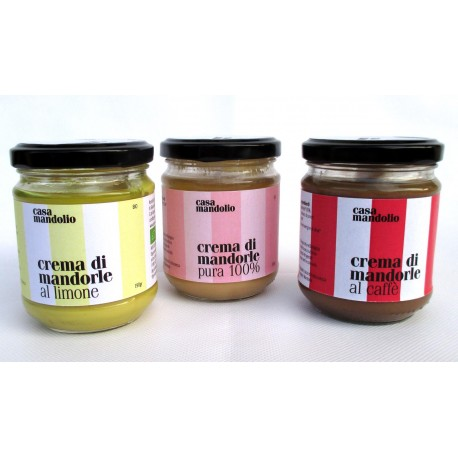 Crema di Mandorla biologica pura + al limone + al caffè | 180g Gourmet Sicilia