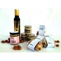 Crema Mandorla pura Bio 100% + Albana fresco (x3) + Olio EVO Moresca + Mandorle tostate (x3)