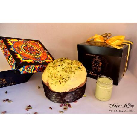 Panettone artigianale Siciliano con vasetto crema di pistacchio, lievitazione lenta Eccellenza Gourmet Sicily