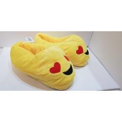 Papuche con emoticon unisex idee regalo per San Valentino gialle in velluto con suola plastificata e antiscivolo
