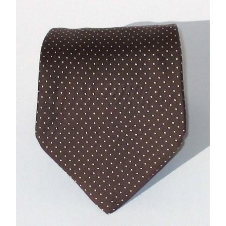 Cravatta uomo in seta marrone a pois piccoli bianchi - Le Cravatte