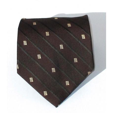 Cravatta uomo marrone con disegni geometrici in contrasto argento - EFFETTOSETA
