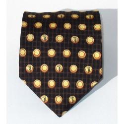 Cravatta uomo in setamarrone con disegni e pois - Trussardi Uomo