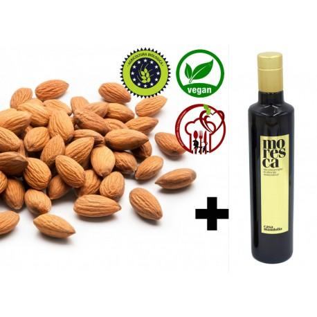 1KG - Mandorle BIOLOGICHE sgusciate pelate al naturale SICILIA + 250ml OLIO EVO Moresca