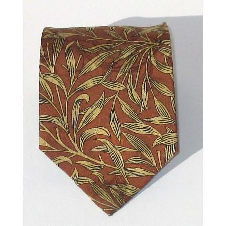 Cravatta uomo in seta stile Anni 80, colore marrone con disegni - Airoldi