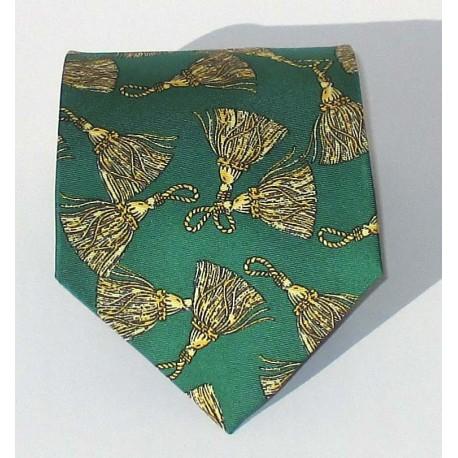 Cravatta uomo in seta stile anni 80, colore verde con disegni plumè - Diana de Silva