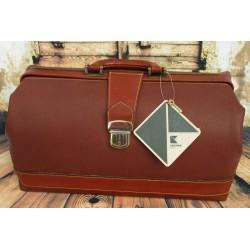 Borsa Dottore Medico Classic Vintage marrone cuoio in pelle cucita a mano Kristian Italia