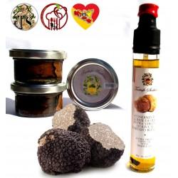 100gr. Fresh Summer Black Truffle SCORZONE + Carpaccio flakes 25g (x3) + Olive Oil EVO T. White 80g