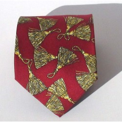 Cravatta uomo in seta stile Anni 80, colore rosso con disegni plumè - Diana de Silva
