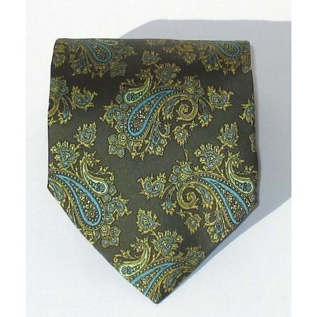 Cravatta uomo in seta verde a righe oblique argento - Enrico Corti