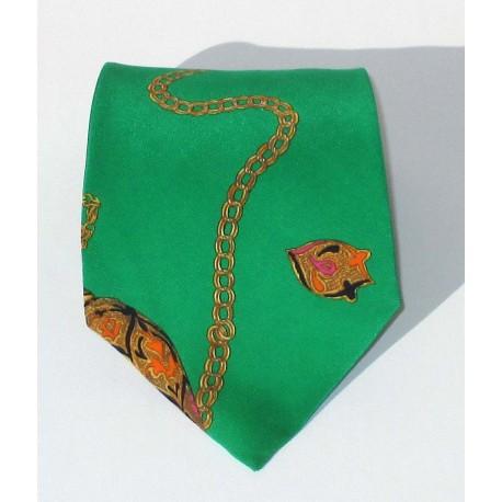 Cravatta uomoin seta, moda anni 80, verde con disegni - Renato Balestra