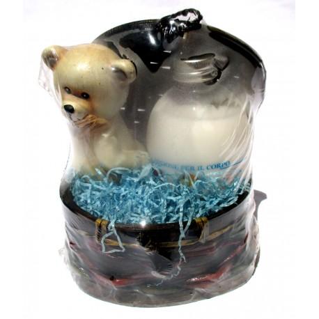 Set Bellezza con Cesto Susy Orsetto in ceramica + Lozione Corpo Mandorle Home Institut