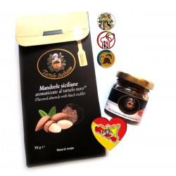 Delicious aperitif with Sicilian almonds with black truffle + white truffle honey