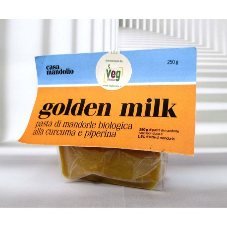 Golden Milk 250g, panetto di mardorle bio al 55%, con curcuma, piperina e zucchero di canna. tripudio di bontà golosa e genuin
