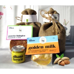 1KG guscio: Mandorla Amara + Mandorle Dolci, Crema con curcuma + fichi + golden milk