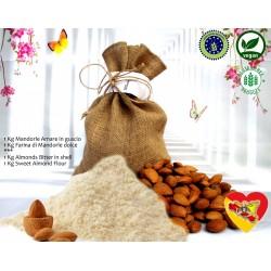 1kg Farina di Mandorle dolci + 1Kg Mandorla Amare in guscio Biologiche Sicilia Vegan dolci
