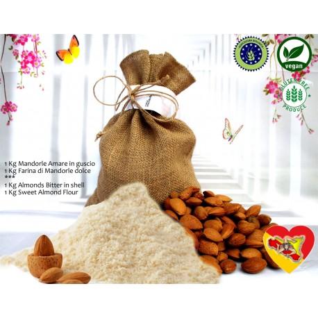 1kg Farina di Mandorle dolci + 1Kg Mandorle Amare in guscio Biologiche Sicilia Vegan dolci