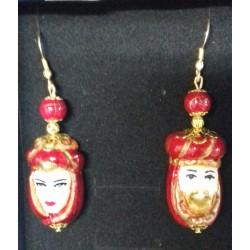 Orecchini coppia teste di moro ceramica artigianale siciliana