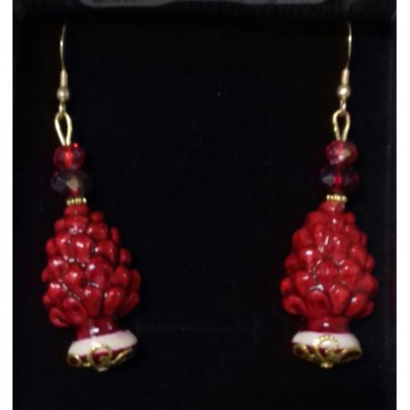 Orecchini pigne rosse ceramica artigianale siciliana