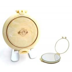 Specchietto da borsetta JANEKE 1830 beauty deluxe elegante in corno panna Italia