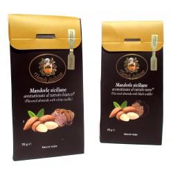 Mandorle al Tartufo Bianco e Nero, packaging deluxe gourmet SICILIA - Snack sfizioso