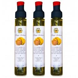 3x Olio al Tartufo Bianco Extravergine di Oliva Sicilia 80ml + 1gr condimento aromatizzato per ricette gourmet