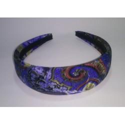 Cerchietto per capelli da donna in stoffa blu con fantasia, imbottito, archetto
