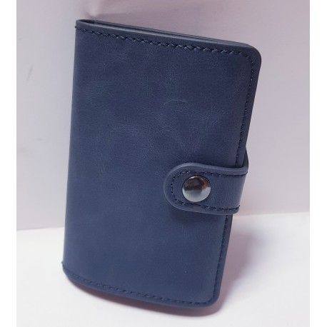 Porta carte di credito , porta carte con fermasoldi , blu in pelle con cuciture e con chiusura a bottone