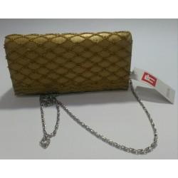 Effetty Borsetta per occasioni dorata in tessuto e decorazioni con strass Donna