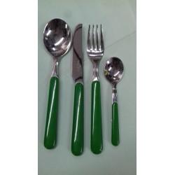 """Servizio Posate 24 pezzi """"Rosenberg"""" acciao e rivestimento plastica verde"""