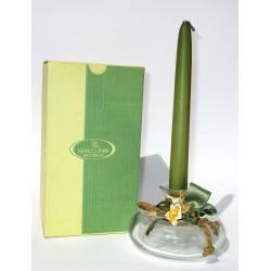 Bottiglia Decorativa in vetro raffinato design con candela (Verde) - Franco Zarri