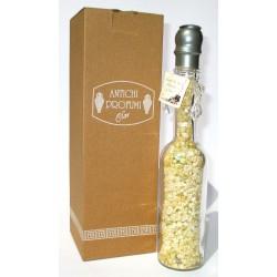 Bottiglia Decorativa in vetro raffinato design riempite con profumatissimi sali bagno marini 200g (Giallo) - Clar