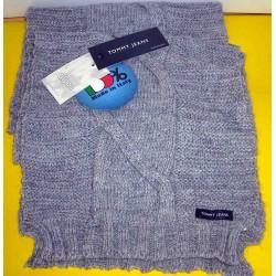 Sciarpa Tommy Jeans colore grigio chiaro trapuntato con motivi - Made in Italy