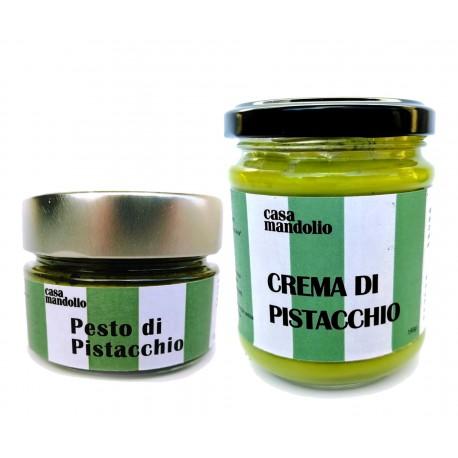 KIT Crema dolce 60% 190gr + Pesto di Pistacchio 80% 120gr con Olio EVO BIO - Sicilia