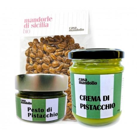 KIT Mandorle Amare 500gr + Crema dolce 60% 190gr + Pesto di Pistacchio 80% 120gr - Sicilia
