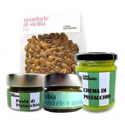 KIT Superfood Salsa Mandorle e Moringa + Mandorle Amare + Crema dolce 60% + Pesto di Pistacchio 80%