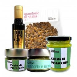 KIT Superfood Olio EVO BIO + Salsa Mandorle e Moringa + Mandorle Amare + Crema dolce 60% + Pesto di Pistacchio 80%