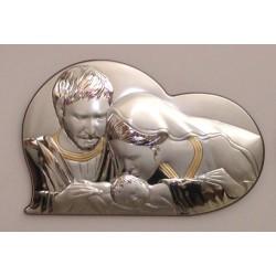 Quadro Capezzale Sacra Famiglia Valenti in Argento 925% con lamina in Oro 34x22cm
