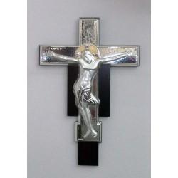 Crocifisso in Argento 925% con lamina in Oro 27x18 cm su supporto in legno pregiato