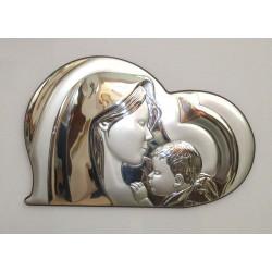 Quadro Capezzale Madonna con Bambino in Argento 925% 45x33 cm