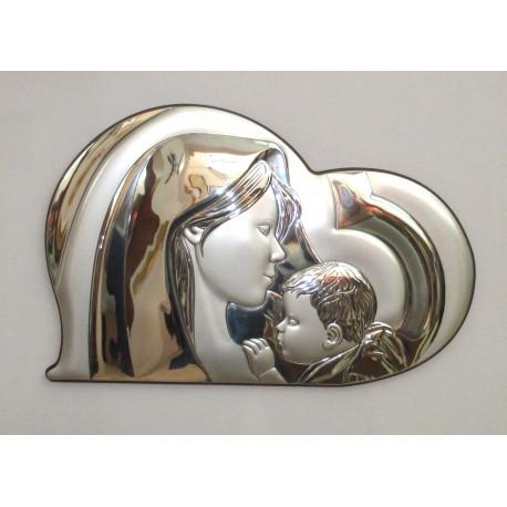 Quadro Capezzale Madonna con Bambino in Argento 925% con lamina in Oro 45x33cm