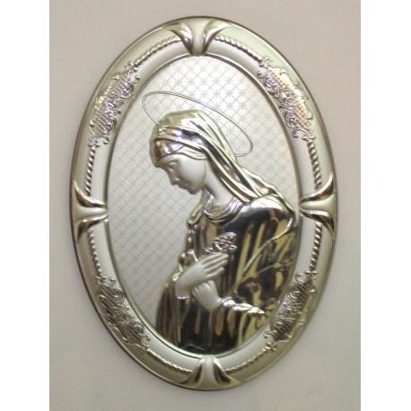 Quadro Capezzale Madonna in Argento 925% forma ovale 43x30 cm