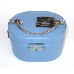 CAMOMILLA Beauty Case - Oval Box w/o Simil Pelle PU Light Blue - Portagioie Organaizer con Key - multiscomparto