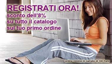 Registrati ora e ottieni 8% di sconto su tutto il catalogo online. Ordine minimo 100€